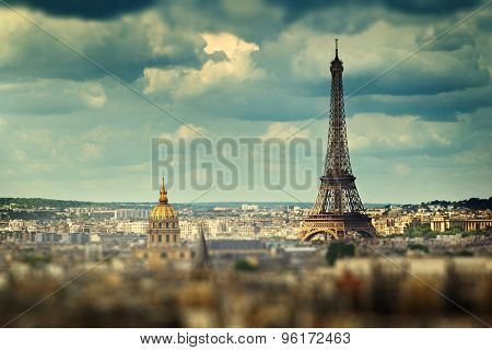 Eiffel Tower (tilt shift effect), Paris, France