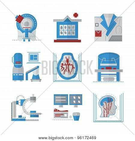 MRI flat color vector icons