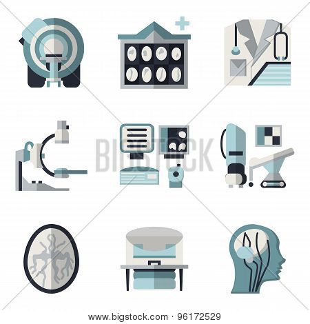 Flat color vector icons for CT scan. MRI