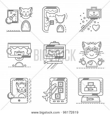Cat selfie flat line icons