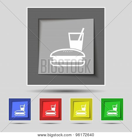 Lunch Box Icon Sign On Original Five Colored Buttons. Vector
