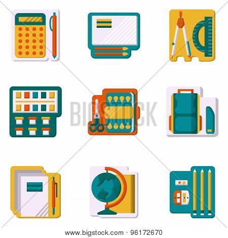 School supplies flat color vector icons