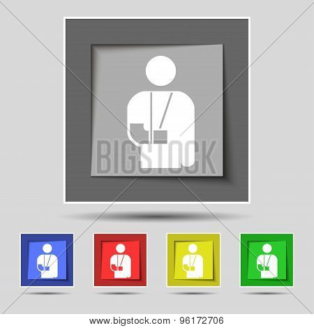 Broken Arm, Disability Icon Sign On Original Five Colored Buttons. Vector