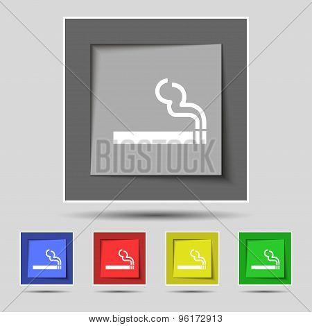 Cigarette Smoke Icon Sign On Original Five Colored Buttons. Vector