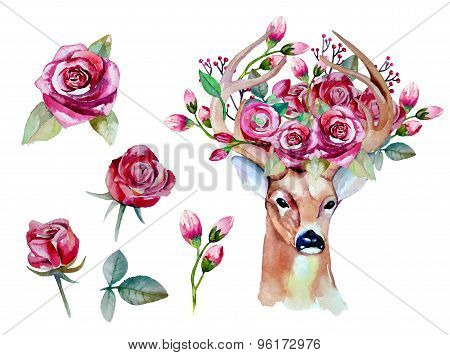Vector watercolor hand drawn floral set with deer. Colorful flor