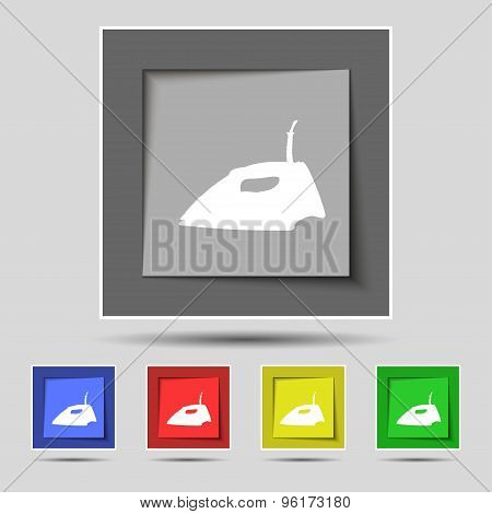 Iron Icon Sign On Original Five Colored Buttons. Vector