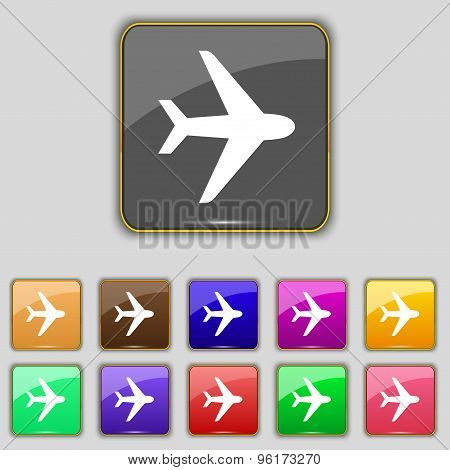 Plane Icon Sign. Set With Eleven Colored Buttons For Your Site. Vector