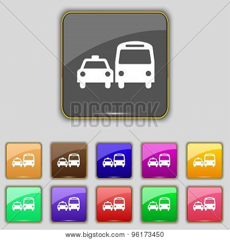 Taxi Icon Sign. Set With Eleven Colored Buttons For Your Site. Vector