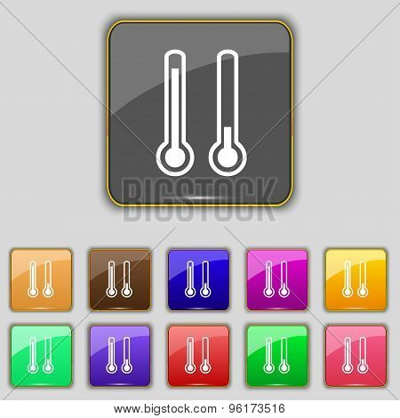 Thermometer Temperature Icon Sign. Set With Eleven Colored Buttons For Your Site. Vector