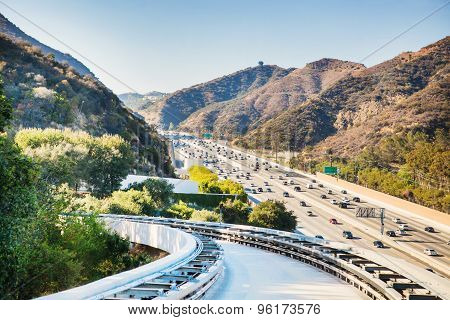 Funicular rails and high way against backdrop of the mountains In Los Angeles, USA. California lands