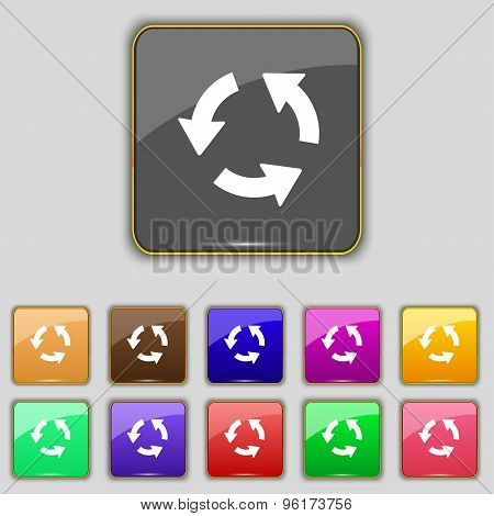 Refresh Icon Sign. Set With Eleven Colored Buttons For Your Site. Vector