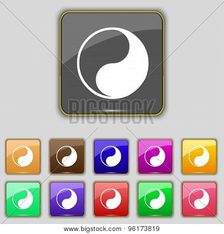 Yin Yang Icon Sign. Set With Eleven Colored Buttons For Your Site. Vector