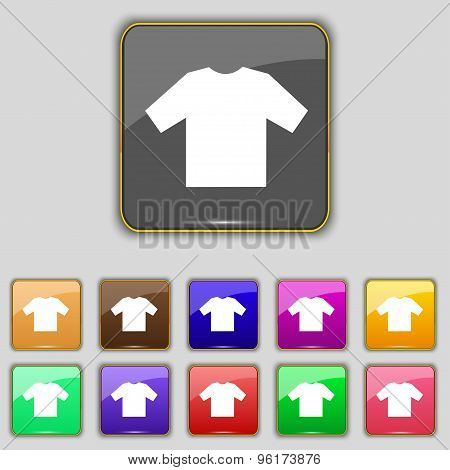 T-shirt Icon Sign. Set With Eleven Colored Buttons For Your Site. Vector