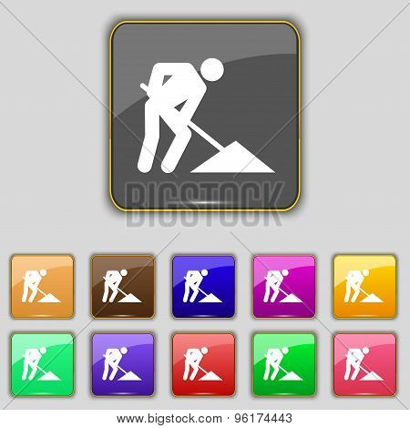 Repair Of Road, Construction Work Icon Sign. Set With Eleven Colored Buttons For Your Site. Vector