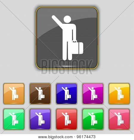 Tourist Icon Sign. Set With Eleven Colored Buttons For Your Site. Vector