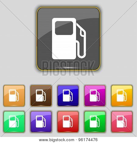 Auto Gas Station Icon Sign. Set With Eleven Colored Buttons For Your Site. Vector