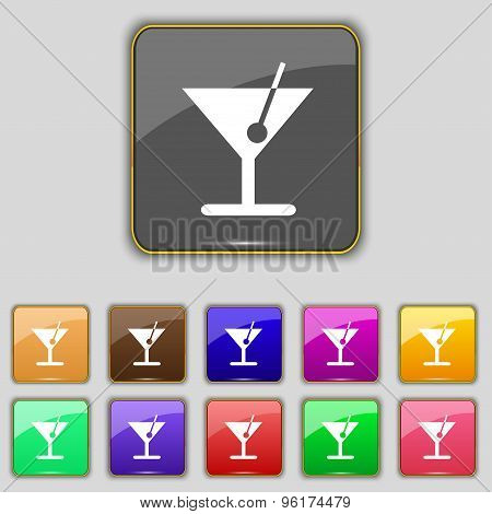 Cocktail Icon Sign. Set With Eleven Colored Buttons For Your Site. Vector