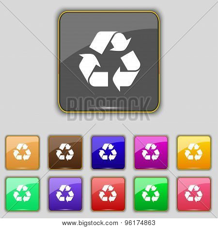 Processing Icon Sign. Set With Eleven Colored Buttons For Your Site. Vector