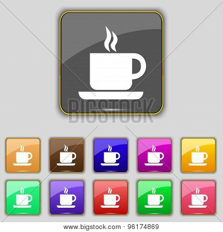 Coffee Icon Sign. Set With Eleven Colored Buttons For Your Site. Vector