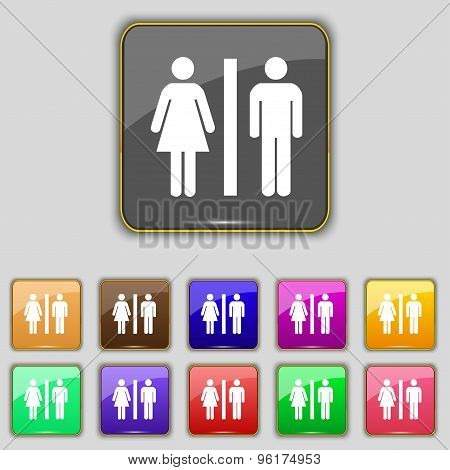 Silhouette Of A Man And A Woman Icon Sign. Set With Eleven Colored Buttons For Your Site. Vector