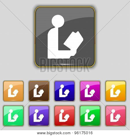 Read A Book Icon Sign. Set With Eleven Colored Buttons For Your Site. Vector