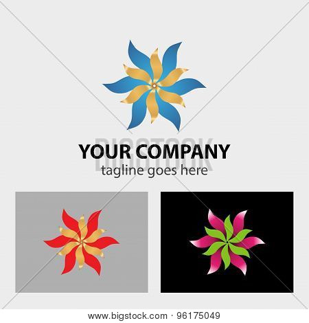Ribbon flower logo design vector illustration template.