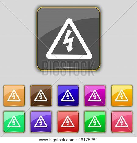 Voltage Icon Sign. Set With Eleven Colored Buttons For Your Site. Vector