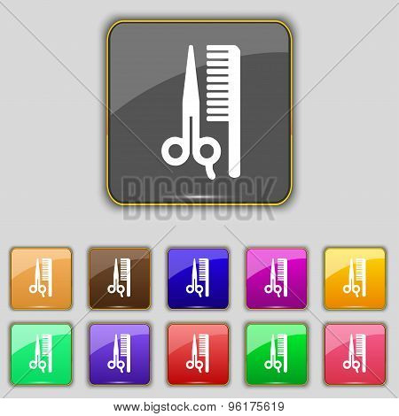 Hair Icon Sign. Set With Eleven Colored Buttons For Your Site. Vector