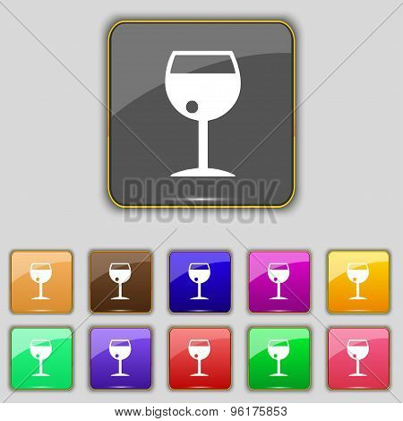 Glass Of Wine Icon Sign. Set With Eleven Colored Buttons For Your Site. Vector