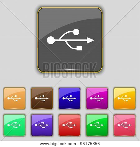 Usb Icon Sign. Set With Eleven Colored Buttons For Your Site. Vector
