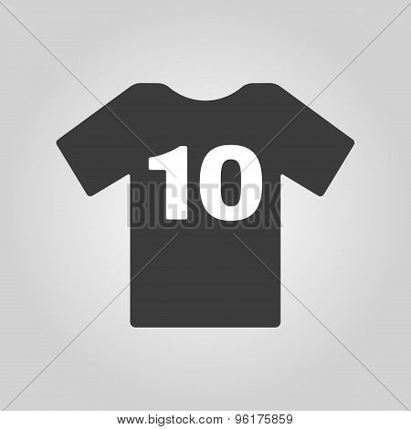 The sports t-shirt with the number 10 icon. Shirt and player symbol. Flat