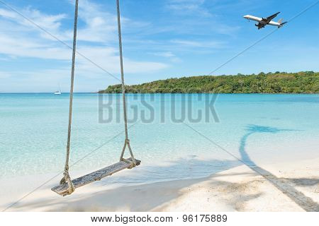 Summer, Travel, Vacation And Holiday Concept - Airplane Arriving Tropical Beach Sea In Phuket ,thail