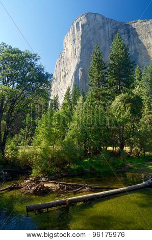 Capitan view and Merced river in Yosemite Valley, California, United States.