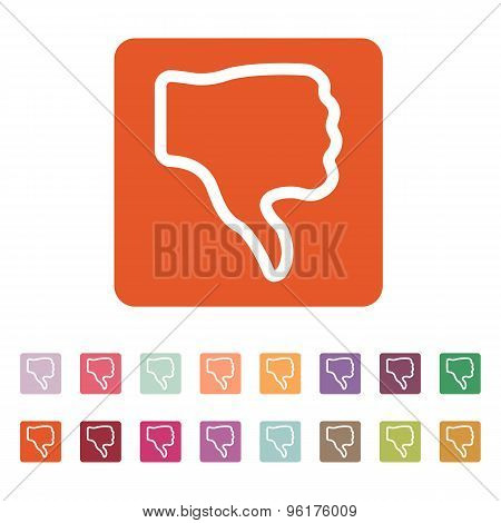 The thumb down icon. Rejected and no, negative symbol. Flat