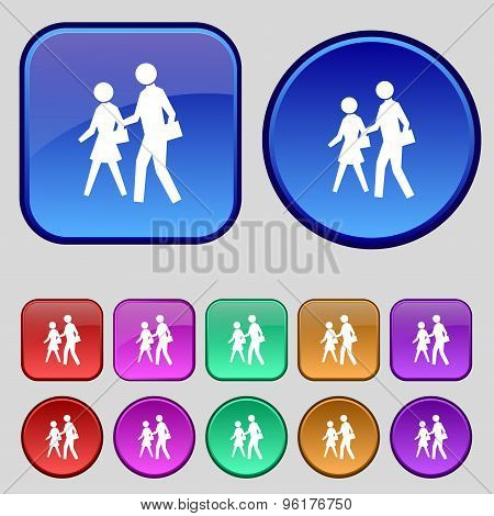 Crosswalk Icon Sign. A Set Of Twelve Vintage Buttons For Your Design. Vector
