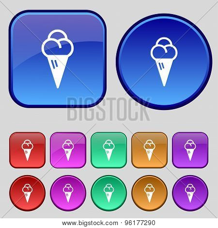 Ice Cream Icon Sign. A Set Of Twelve Vintage Buttons For Your Design. Vector