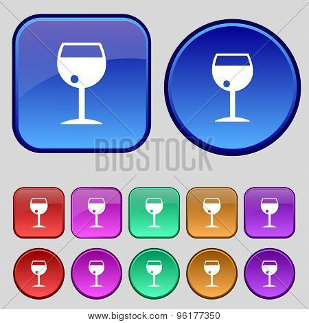 Glass Of Wine Icon Sign. A Set Of Twelve Vintage Buttons For Your Design. Vector