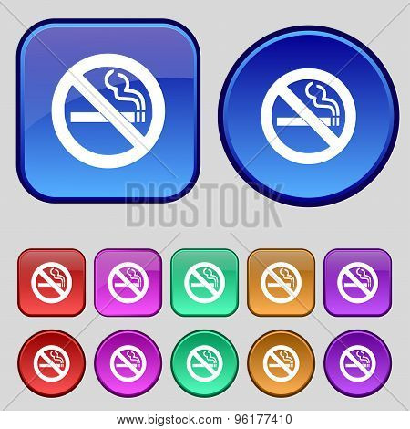 No Smoking Icon Sign. A Set Of Twelve Vintage Buttons For Your Design. Vector