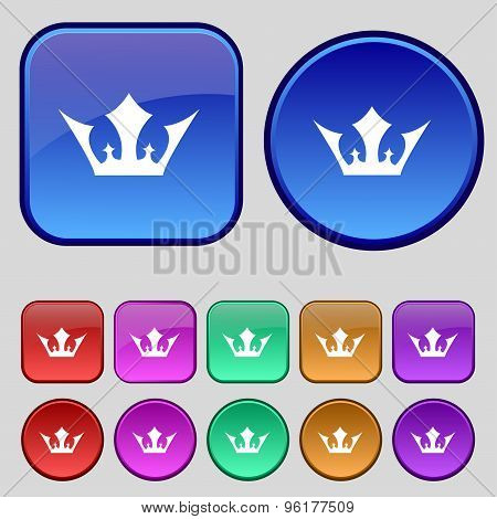 Crown Icon Sign. A Set Of Twelve Vintage Buttons For Your Design. Vector