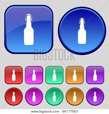 Bottle Icon Sign. A Set Of Twelve Vintage Buttons For Your Design. Vector