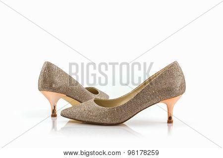 High Heel Of Golden Shoes.