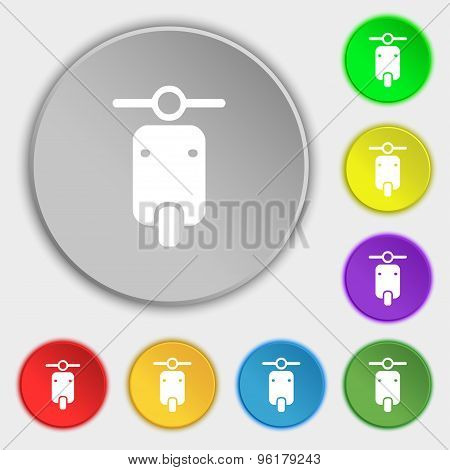 Motorcycle Icon Sign. Symbol On Five Flat Buttons. Vector
