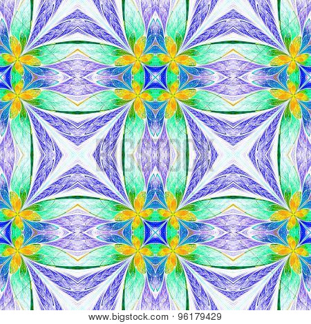 Symmetrical Flower Pattern In Stained-glass Window Style On Light. Green, Yellow And  Dark-blue Pale