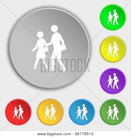Crosswalk Icon Sign. Symbol On Five Flat Buttons. Vector