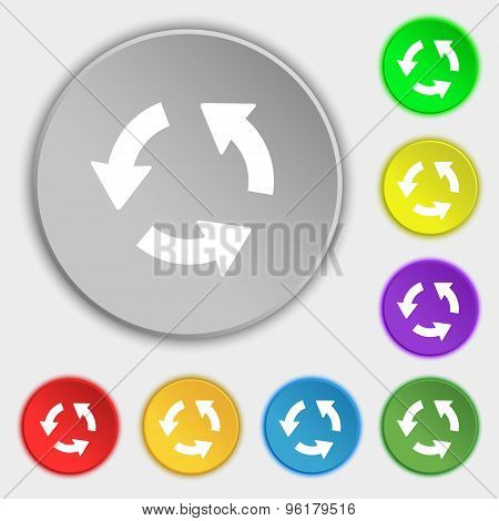 Refresh Icon Sign. Symbol On Five Flat Buttons. Vector