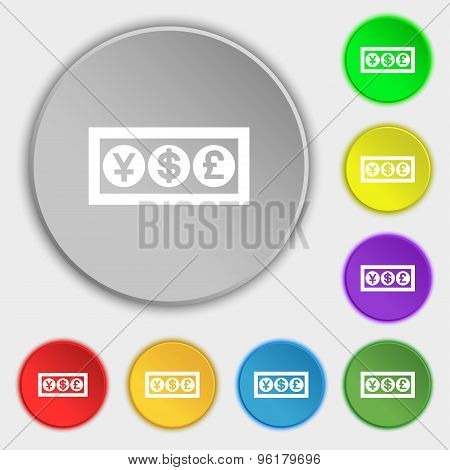 Cash Currency Icon Sign. Symbol On Five Flat Buttons. Vector