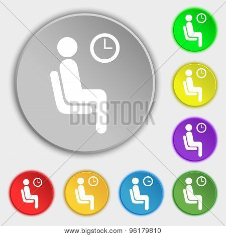 Waiting Icon Sign. Symbol On Five Flat Buttons. Vector