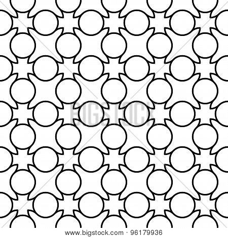 Black And White Geometric Seamless Pattern With Line And Circle, Abstract Background.