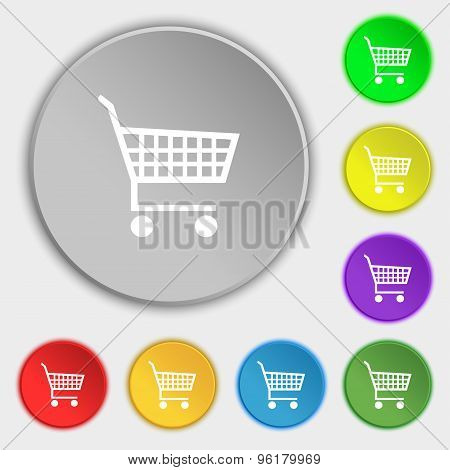 Shopping Cart Icon Sign. Symbol On Five Flat Buttons. Vector