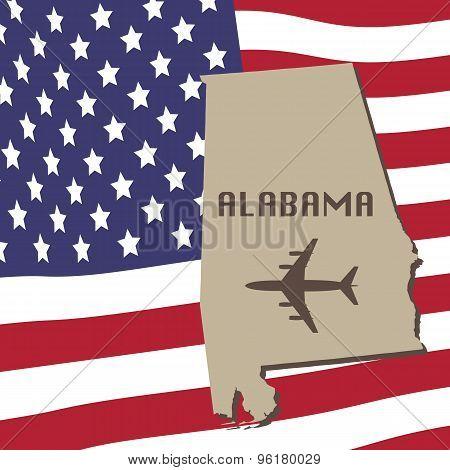 Alabama Air Travel Vector Concept